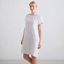 White Navy Stripe Medium Linen Dress Alice