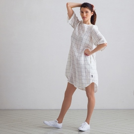 Off White Navy Window Pane Linen Dress Luisa