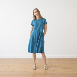 Sea Blue Linen Dress Adel