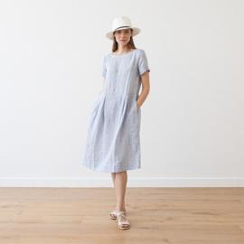 Navy Stripe Linen Dress Adel