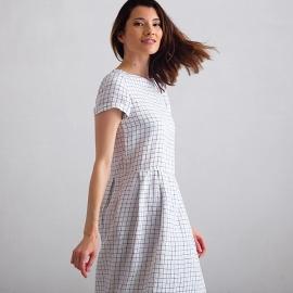 White Navy Checked Linen Dress Adel