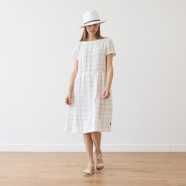 White Navy Window Pane Linen Dress Adel