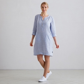 Blue Pinstripe Linen Dress Layla