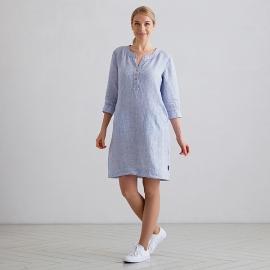 Blue Pinstripe Linen Dress Layla