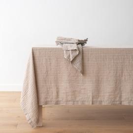 Washed Linen Tablecloth Natural Brick Check