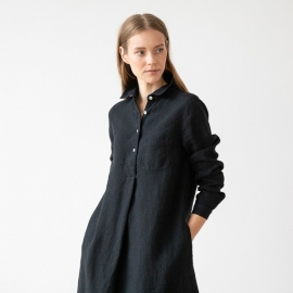 Black Linen Dress Camilla