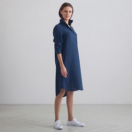 Indigo Linen Dress Camilla
