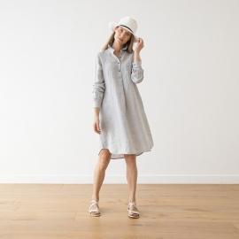 Silver Melange  Linen Dress Camilla