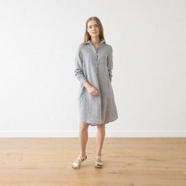 Silver Melange  Linen Dress Camilla