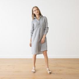 Graphite Melange  Linen Dress Camilla