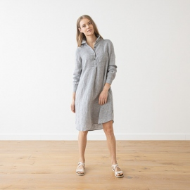 Graphite Melange  Linen Dress Camilla