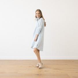 Sky Blue Melange  Linen Dress Camilla