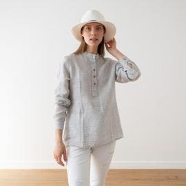 Silver Pinstripe Linen Shirt Toby