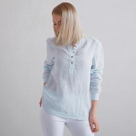 Sky Blue Pinstripe Linen Shirt Toby