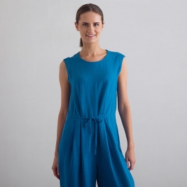 Sea Blue Linen Jumpsuit Emilio