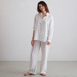 Off White Navy Window Pane Linen Pyjama Alma