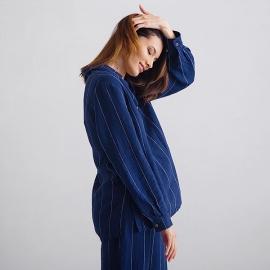 Navy Off White Stripe Large Linen Pyjama Alma