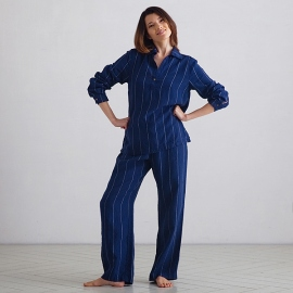 Navy Off White Stripe Large Linen Pyjama Alma