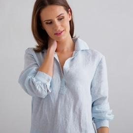 Sky Blue Pinstripe Linen Pyjama Alma