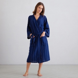 Navy Off White Large Stripe Linen Bath Robe Alma