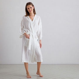Off White Navy Window Pane Linen Bath Robe Alma