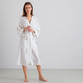 Off White Navy Large Stripe Linen Bath Robe Alma