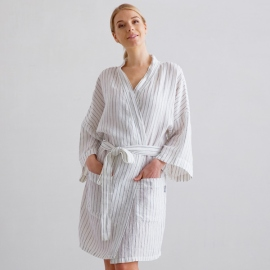 Off White Navy Stripe Medium Linen Bath Robe Alma