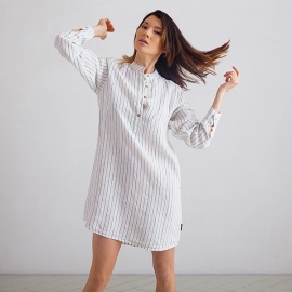 Silver Stripe Linen Night Shirt Alma