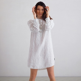 Off White Navy Stripe Medium  Linen Night Shirt Alma