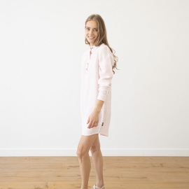 Pink Pinstripe Linen Night Shirt Alma