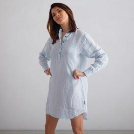 Off White Navy Check Linen Night Shirt Alma