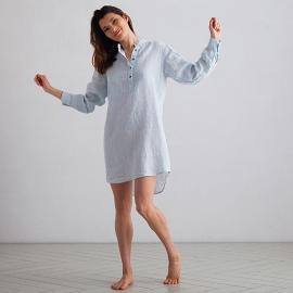 Sky Blue Pinstripe Linen Night Shirt Alma