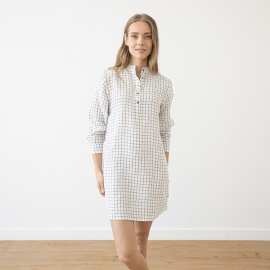 Off White Navy Check Linen Night Shirt Alma