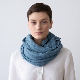 Deep Pool Linen Summer Scarf Garza