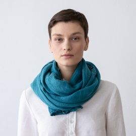 Sea Blue Linen Summer Scarf Garza
