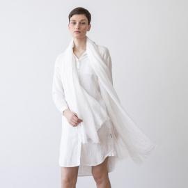 White Linen Shawl Garza Fringe