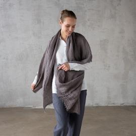 Steel Grey Linen Shawl Garza Fringe