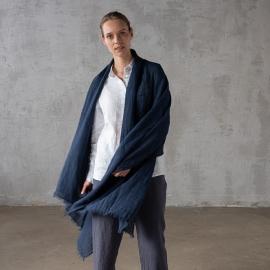 Night Blue Linen Shawl Garza Fringe