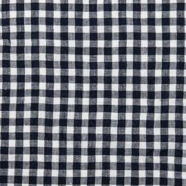 White Navy Linen Fabric Sample Check