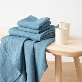 Jeans Linen Bath and Hand Towels Set Washed Waffle