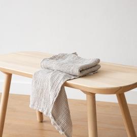 Linen Waffle Big Hand Towel Set Silver