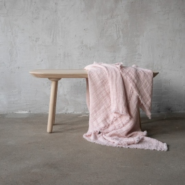 Rosa Linen Throw with Fringes Washed Waffle