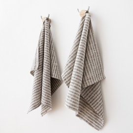 Set of 2 Black Natural Linen Hand  Towels Brittany