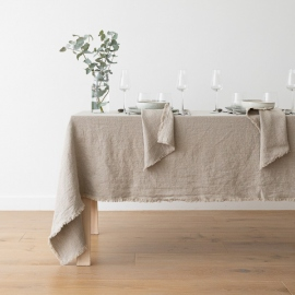 Natural Linen Tablecloth Terra Fringe