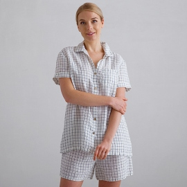 Off White Navy Check Linen Pyjama Emilia