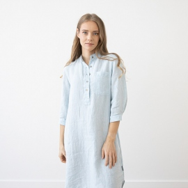 Sky Blue Melange Linen Nightie Veronica