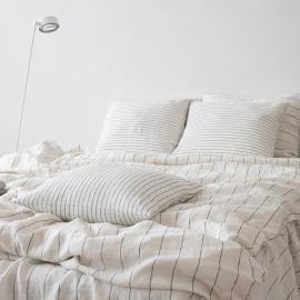 Medium Stripe White Navy Pillow Case Stone Washed