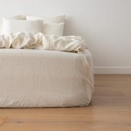 Off White Washed Bed Linen Crushed Fitted Sheet Deep Pocket