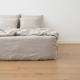 Natural Washed Bed Linen Crushed Fitted Sheet Deep Pocket