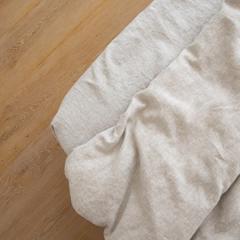 Natural Washed Bed Linen Crushed Fitted Sheet Deep Pocket